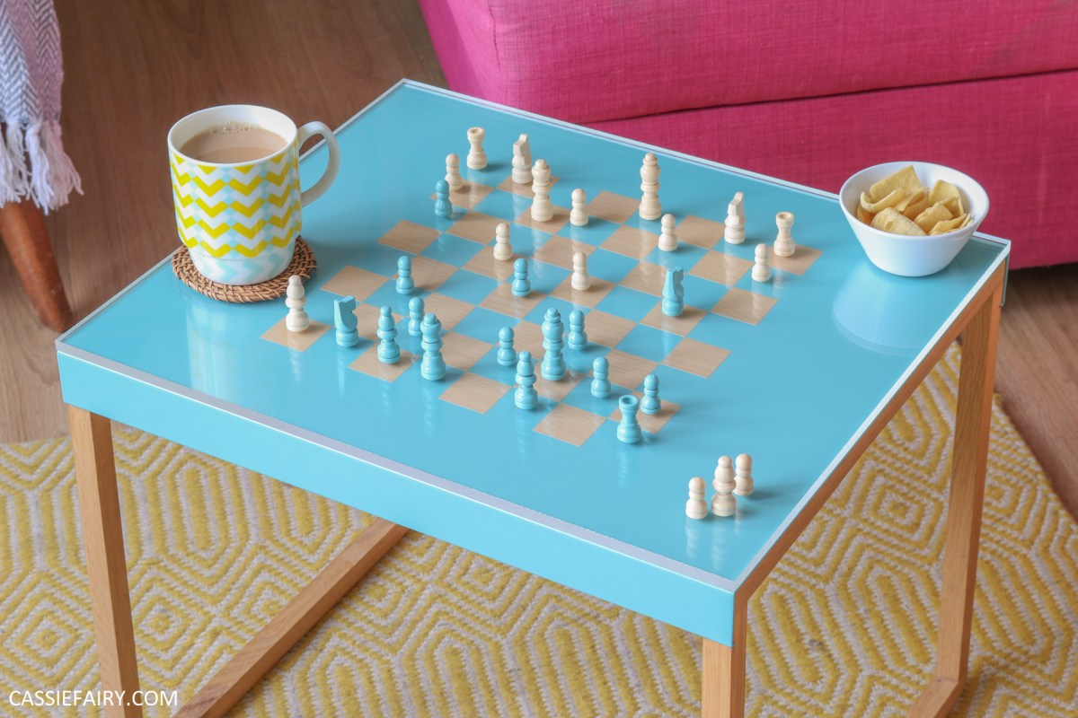 How to upcycle an old side table into a chess-board coffee table